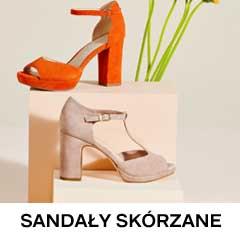 Biało brązowe skórzane sandały na słupku i platformie