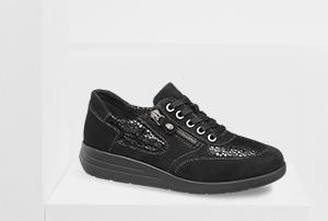 Schwarze Komfort Schnürschuhe