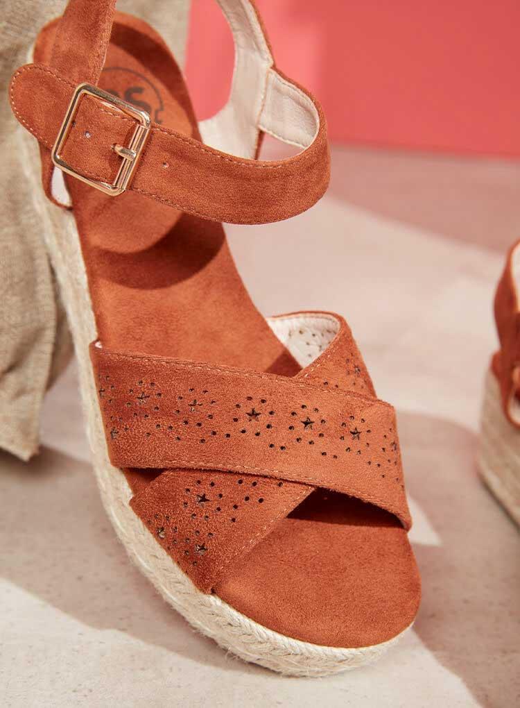 Orange Damen Sandale